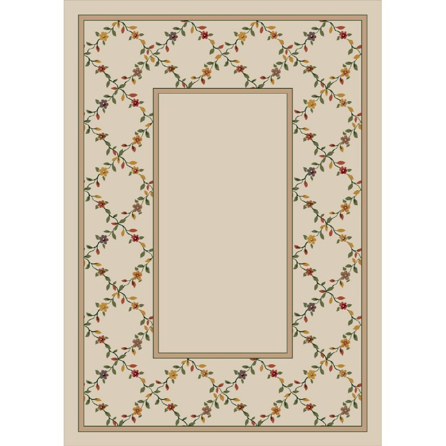 Milliken Spring Trellis Rectangular Cream Floral Tufted Area Rug (Common: 8-ft x 11-ft; Actual: 7.66-ft x 10.75-ft)