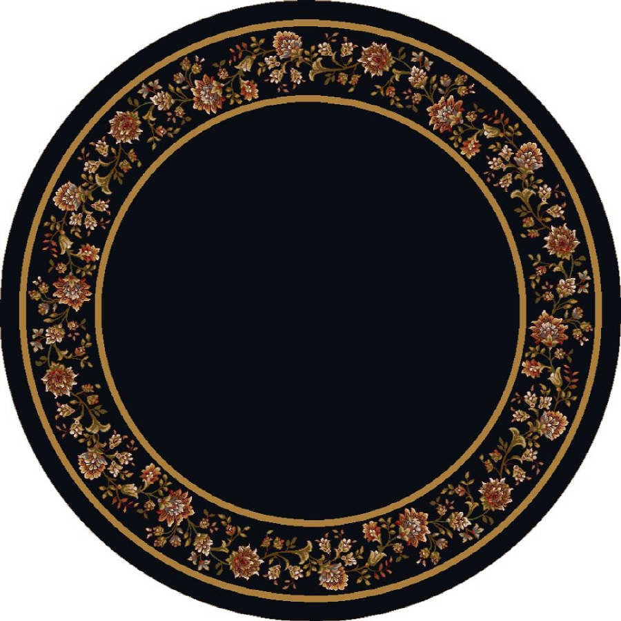 Milliken Chatsworth Round Black Floral Tufted Area Rug (Common: 8-ft x 8-ft; Actual: 7.58-ft x 7.58-ft)