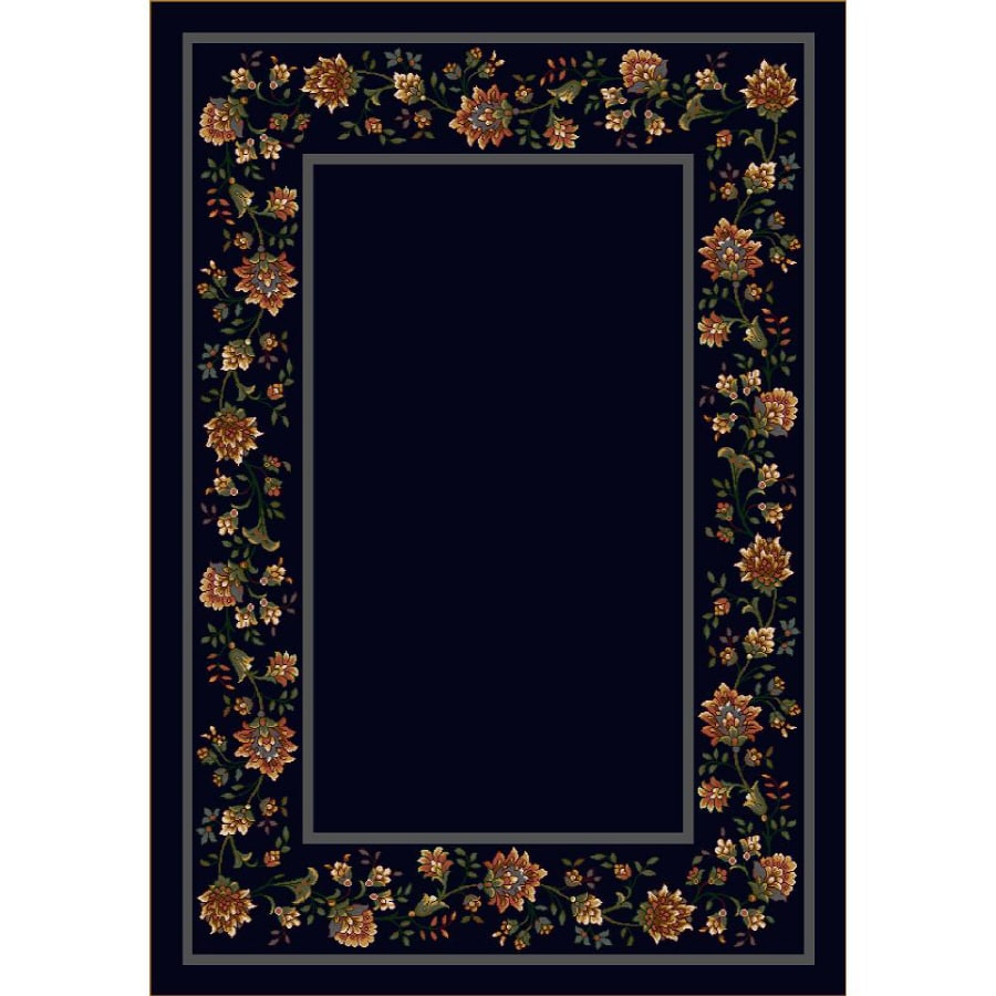 Milliken Chatsworth Rectangular Blue Floral Tufted Area Rug (Common: 5-ft x 8-ft; Actual: 5.33-ft x 7.66-ft)
