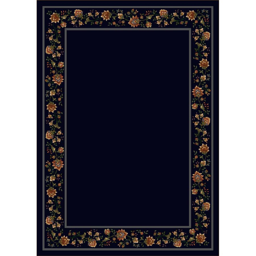 Milliken Chatsworth Rectangular Blue Floral Tufted Area Rug (Common: 8-ft x 11-ft; Actual: 7.66-ft x 10.75-ft)