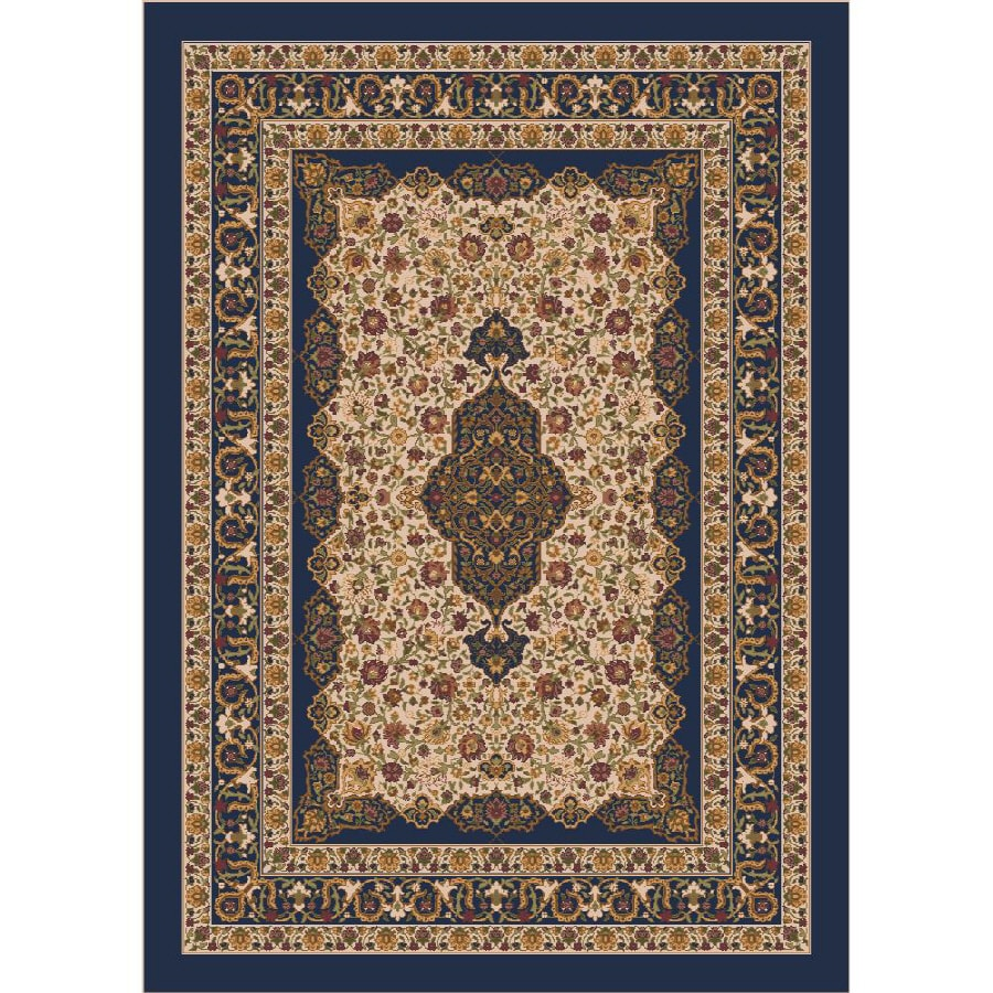 Milliken Tiraz Rectangular Blue Transitional Tufted Area Rug (Common: 4-ft x 6-ft; Actual: 3.83-ft x 5.33-ft)