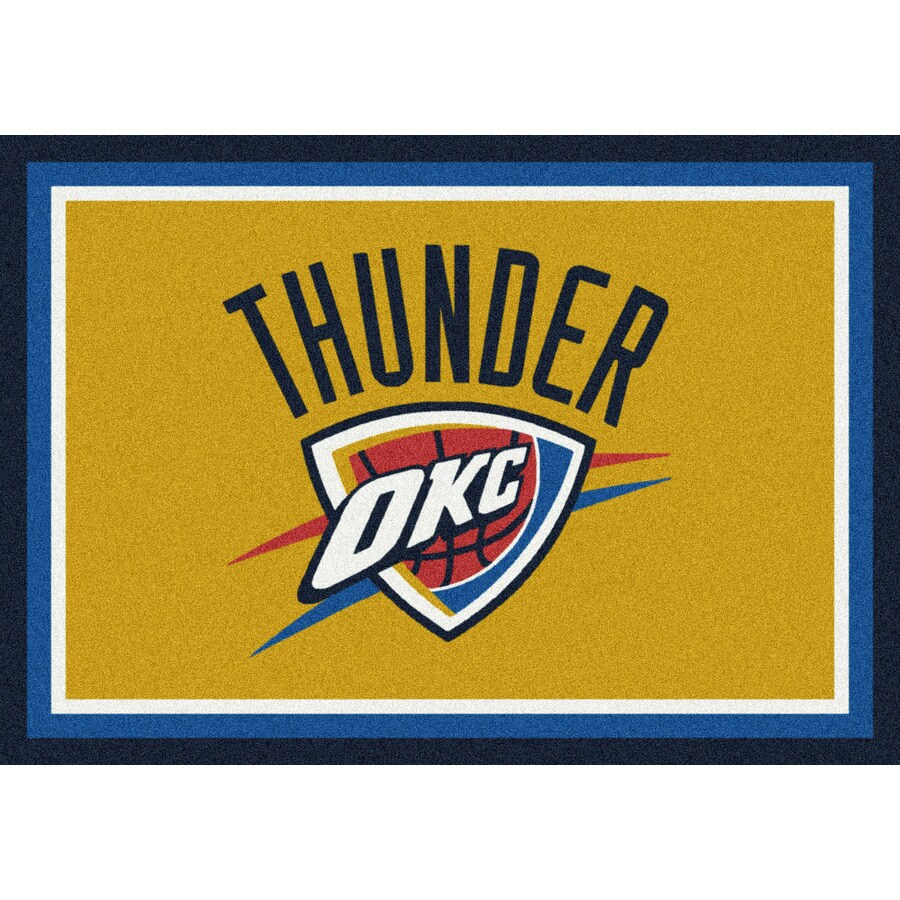 Milliken NBA Spirit Yellow Rectangular Indoor Tufted Sports Area Rug (Common: 4 x 6; Actual: 3.83-ft W x 5.33-ft L)