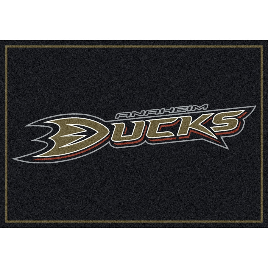 Milliken NHL Spirit Black Rectangular Indoor Tufted Sports Area Rug (Common: 8 x 10; Actual: 7.67-ft W x 10.75-ft L)