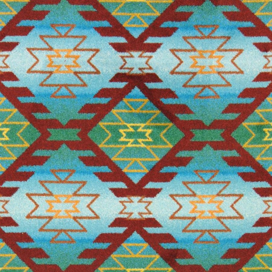 Joy Carpets Kaleidoscope Desert Turquoise Cut and Loop Indoor Carpet