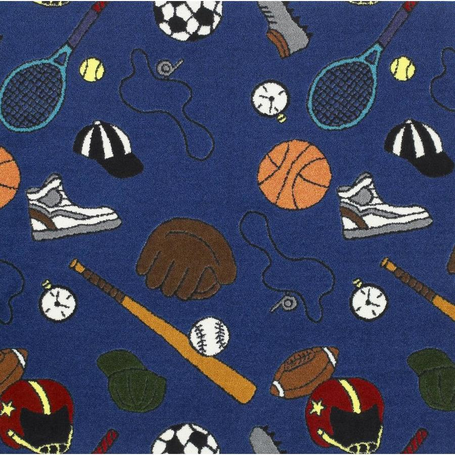 Joy Carpets Sports Fan Blue Cut and Loop Indoor Carpet