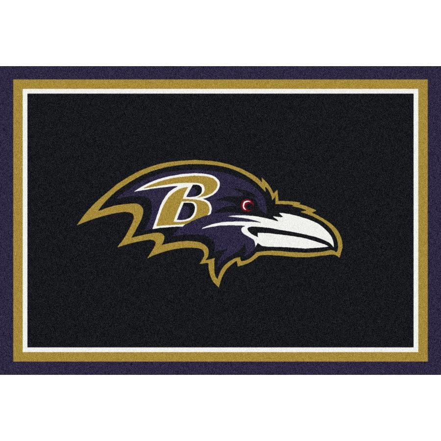 Milliken NFL Spirit Black Rectangular Indoor Tufted Sports Area Rug (Common: 5 x 8; Actual: 5.33-ft W x 7.67-ft L)