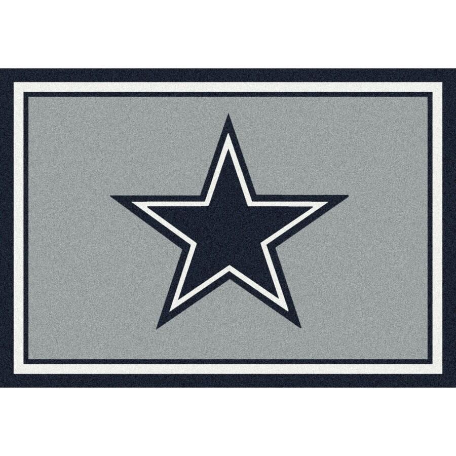Milliken NFL Spirit Gray Rectangular Indoor Tufted Sports Area Rug (Common: 5 x 8; Actual: 64-in W x 92-in L)