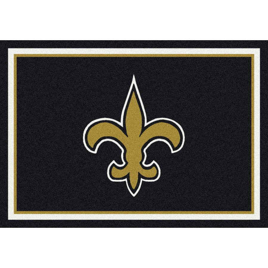 Milliken NFL Spirit Black Rectangular Indoor Tufted Sports Area Rug (Common: 4 x 6; Actual: 46-in W x 64-in L)