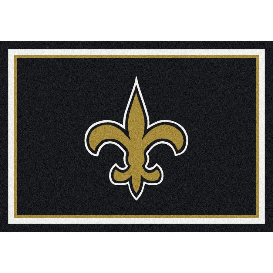 Milliken NFL Spirit Black Rectangular Indoor Tufted Sports Area Rug (Common: 4 x 6; Actual: 3.83-ft W x 5.33-ft L)