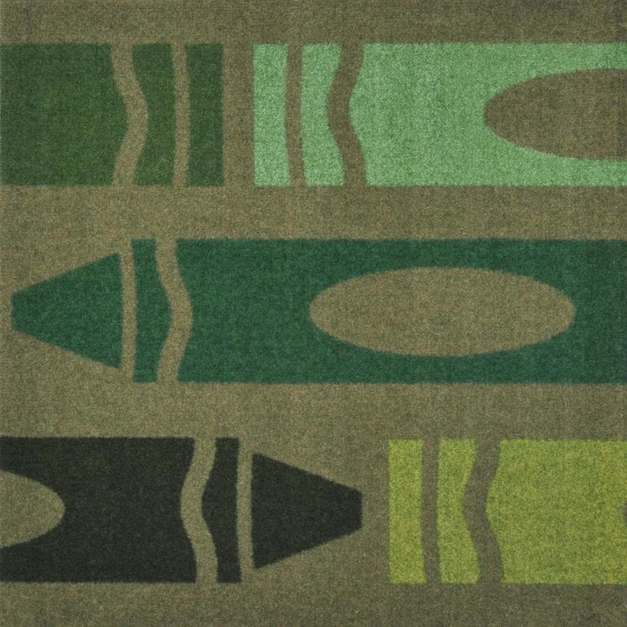Joy Carpets Playful Patterns Olive Cut and Loop Indoor Carpet