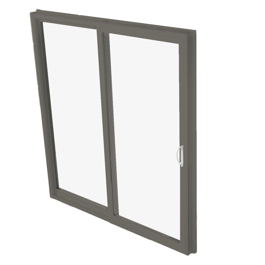 BetterBilt 570 Series 95.5-in Clear Glass Bronze Aluminum Sliding Patio Door with Screen