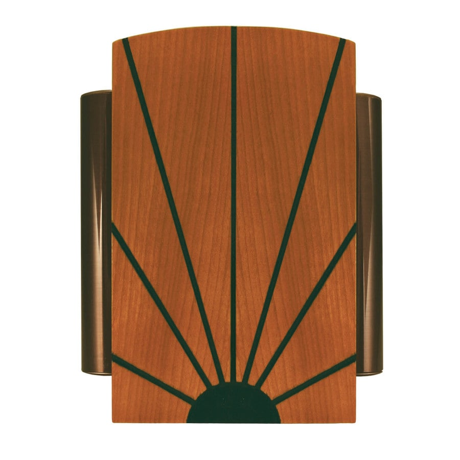 Heath Zenith Wired Door Chime With A Solid Birch Cover With Black Sun Ray Design And Oil Rubbed Bronze Side Tubes