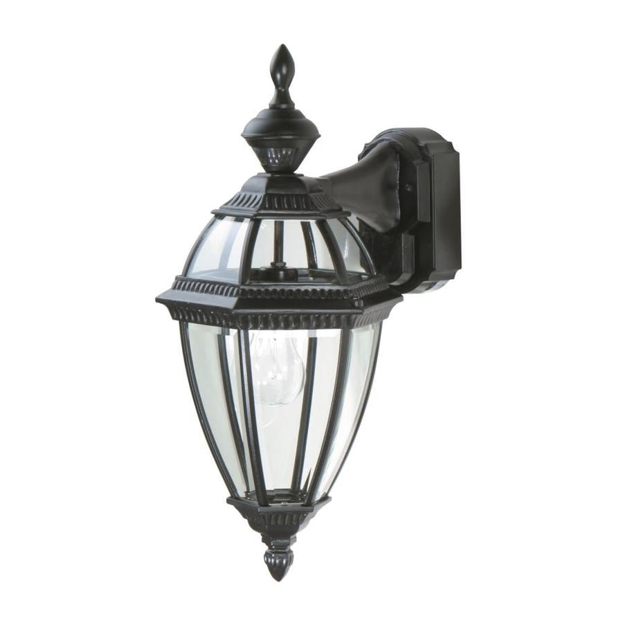 shop heath zenith 17 1 in h black motion activated outdoor wall light. Black Bedroom Furniture Sets. Home Design Ideas