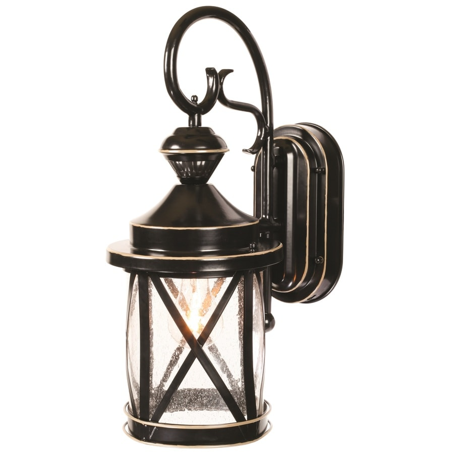 Outdoor Wall Light Fixtures Lowes : Shop Heath Zenith 18.11-in H Satin Black Motion Activated Outdoor Wall Light at Lowes.com