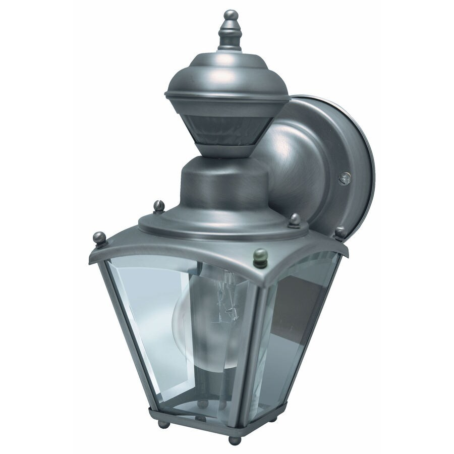 Heath Zenith 10-in H Silver Motion Activated Outdoor Wall Light