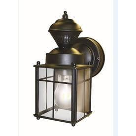 Shop outdoor wall lighting at lowes secure home 952 in h matte black motion activated outdoor wall light aloadofball Images