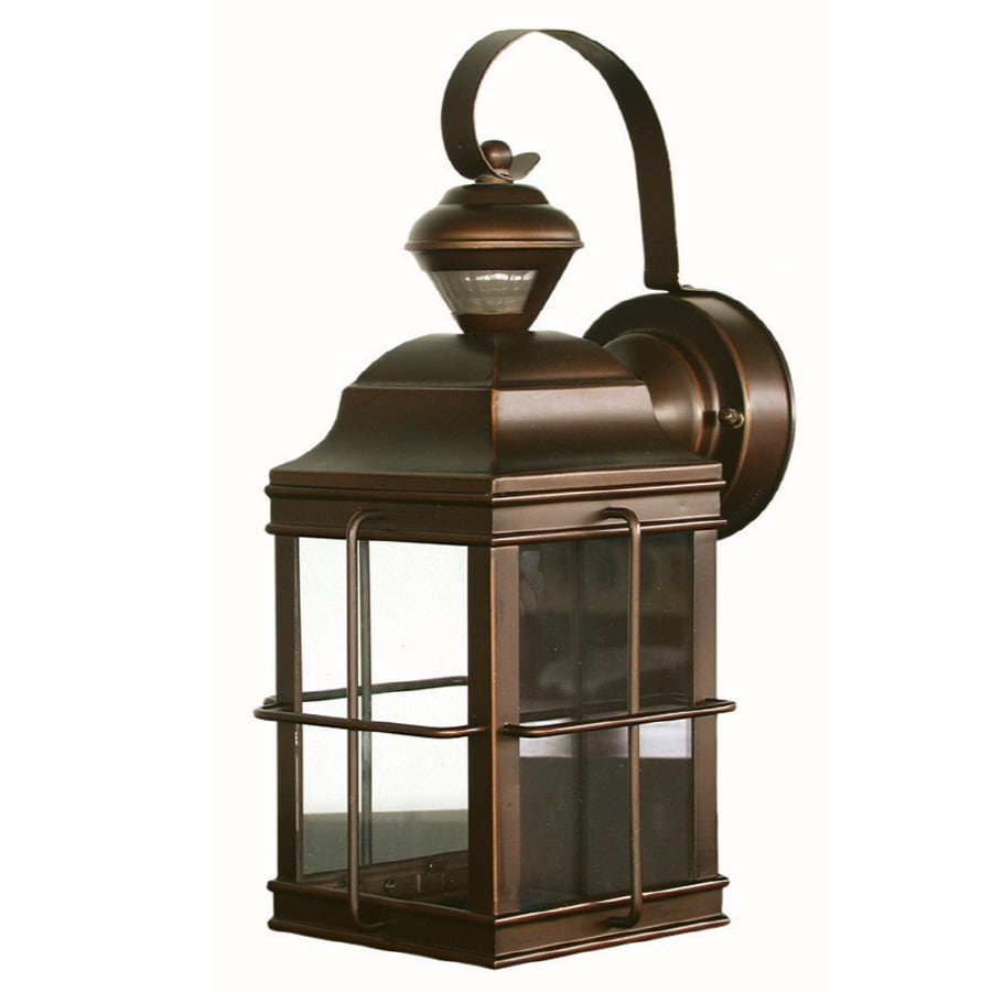Shop outdoor wall lighting at lowes secure home new england carriage 1475 in h antique bronze motion activated outdoor wall light aloadofball Choice Image