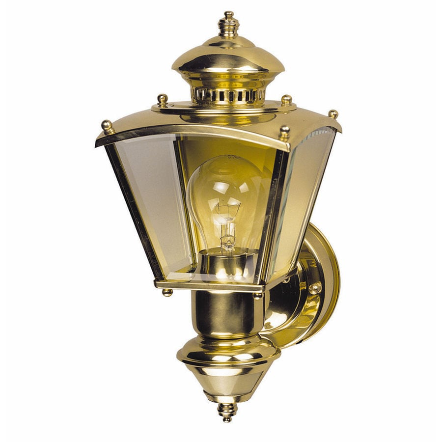 Heath Zenith 16.5-in H Polished Brass Motion Activated Outdoor Wall Light