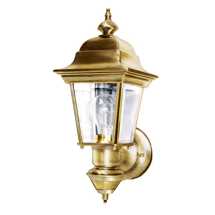Heath Zenith 14-5/8-in H Antique Brass Motion Activated Outdoor Wall Light
