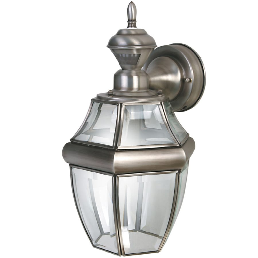 secure home hanging carriage 145in h antique silver motion activated outdoor wall light