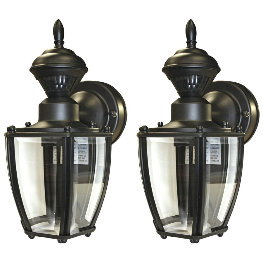 Secure Home 2-Pack 11-in Black Motion Activated Outdoor Wall Light
