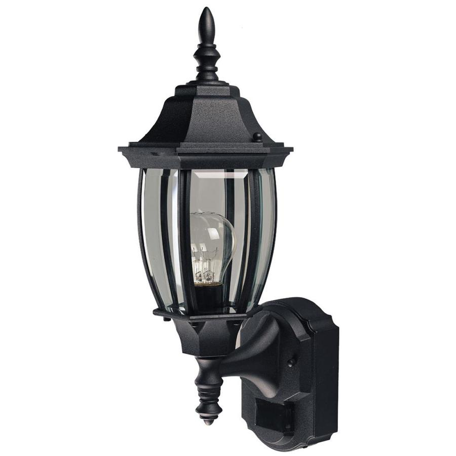 18 5 in h black motion activated outdoor wall light at. Black Bedroom Furniture Sets. Home Design Ideas