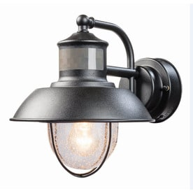 Shop outdoor wall lights at lowes secure home nautical 94 in h matte black motion activated outdoor wall light aloadofball