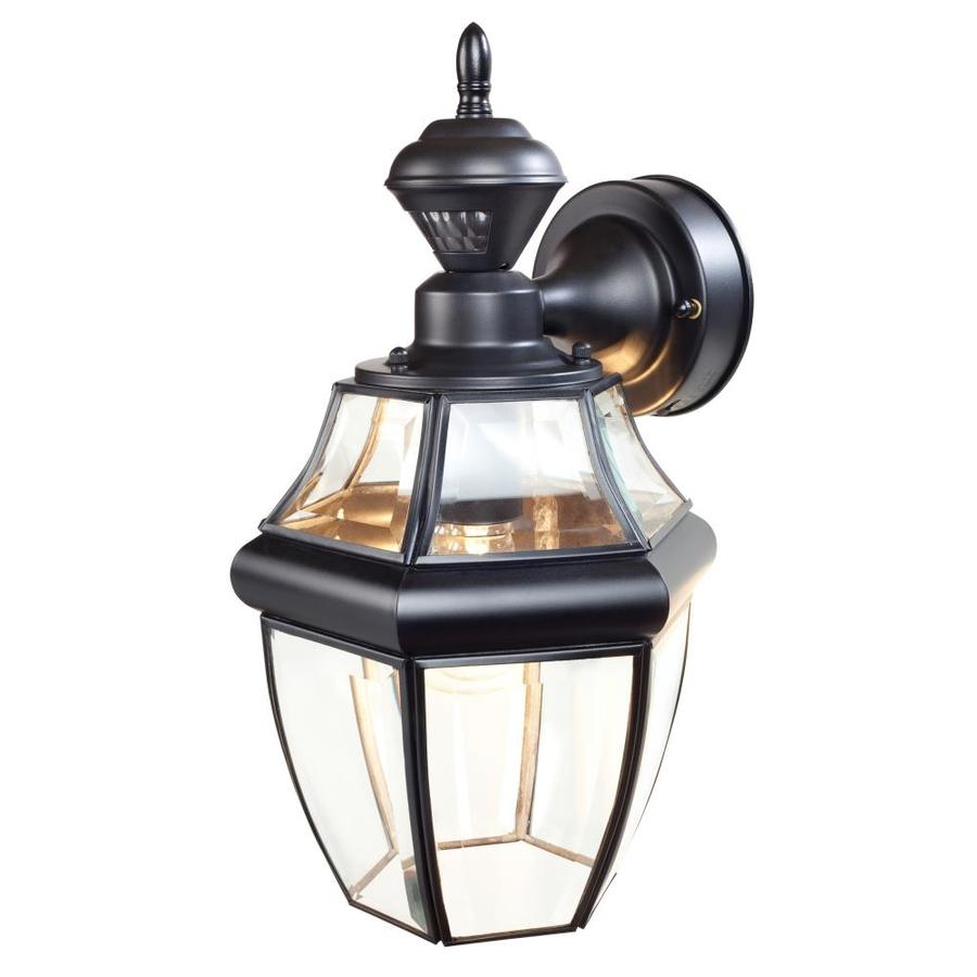 Secure Home Hanging Carriage 14.5-in H Black Motion Activated Outdoor Wall Light