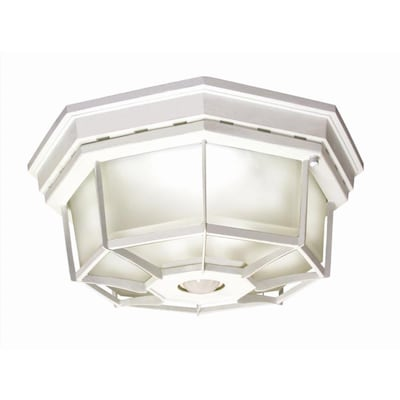 11 9 In W White Motion Activated Outdoor Flush Mount Light