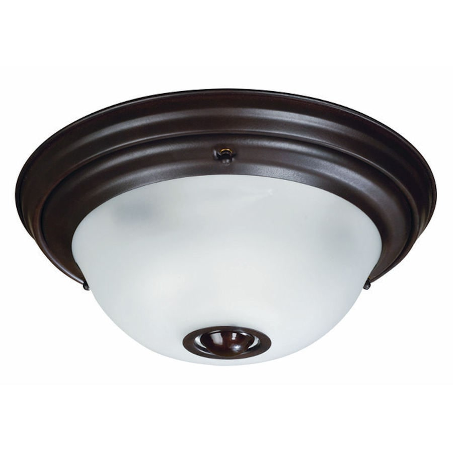 Secure Home 12-7/8-in Heritage Bronze Ceiling Flush Mount