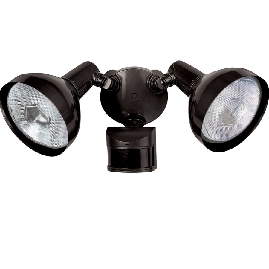 Secure Home 240° (Backyards)-Degree 2-Head Black Halogen Motion-Activated Flood Light Timer Included