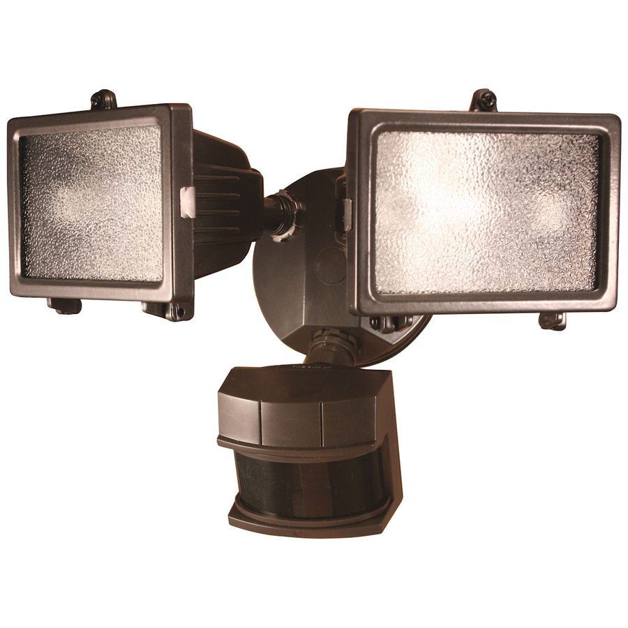 Secure Home 240-Degree 2-Head Dual Detection Zone Black Halogen Motion-Activated Flood Light with Timer