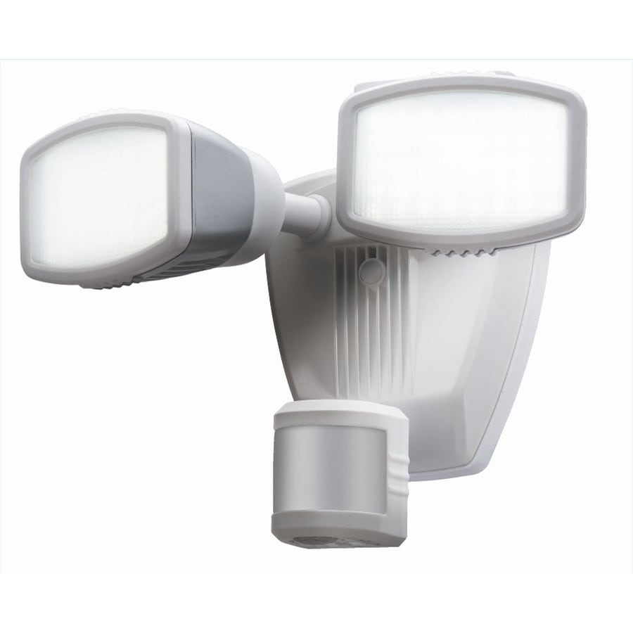 Secure Home 240-Degree 2-Head Dual Detection Zone White Integrated LED Motion-Activated Flood Light with Timer
