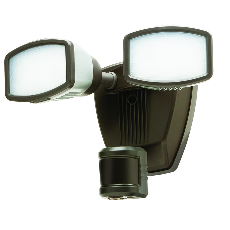 Secure Home 240-Degree 2-Head Dual Detection Zone Black Integrated LED Motion-Activated Flood Light with Timer