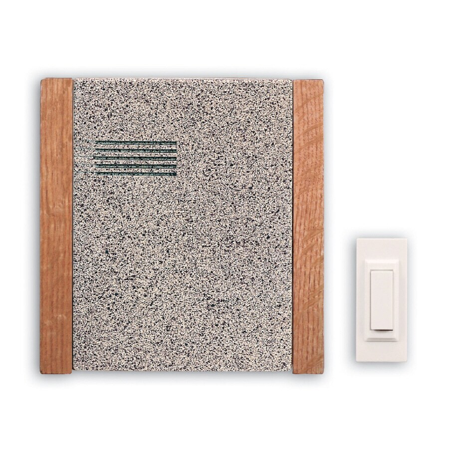 Heath Zenith Wireless Battery Operated Door Chime Kit With Faux Stone Cover  With Oak Trim