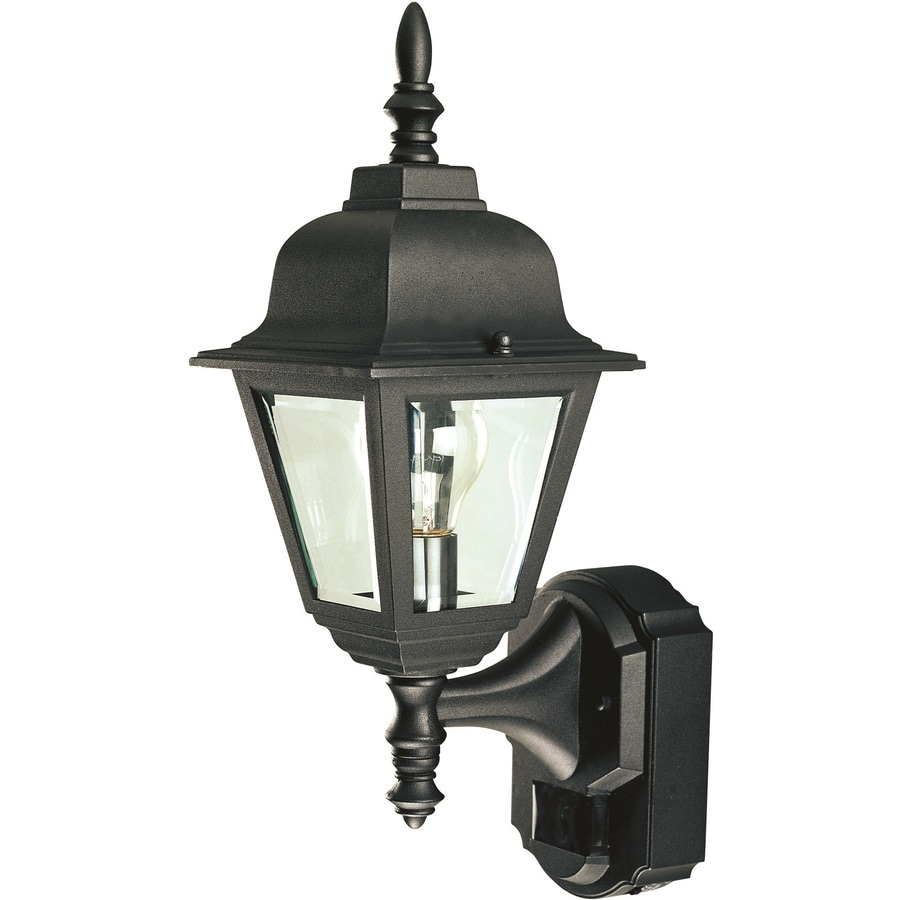 shop heath zenith h black motion activated outdoor wall light. Black Bedroom Furniture Sets. Home Design Ideas