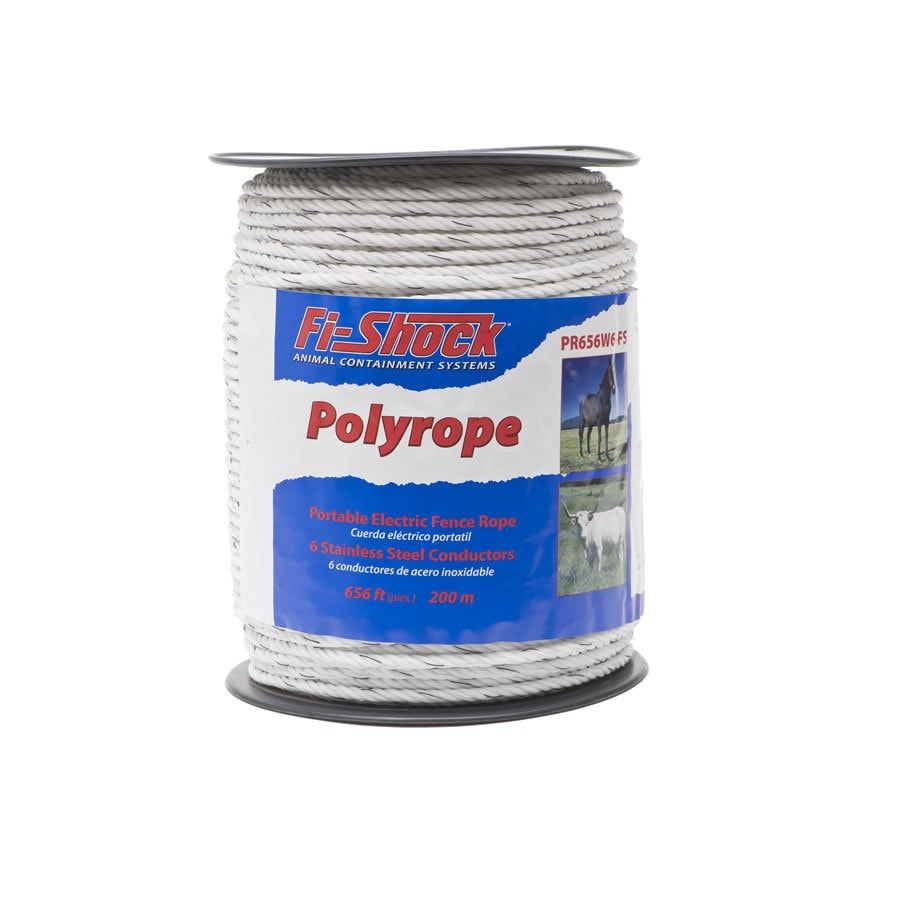 fishock 656ft electric fence poly rope