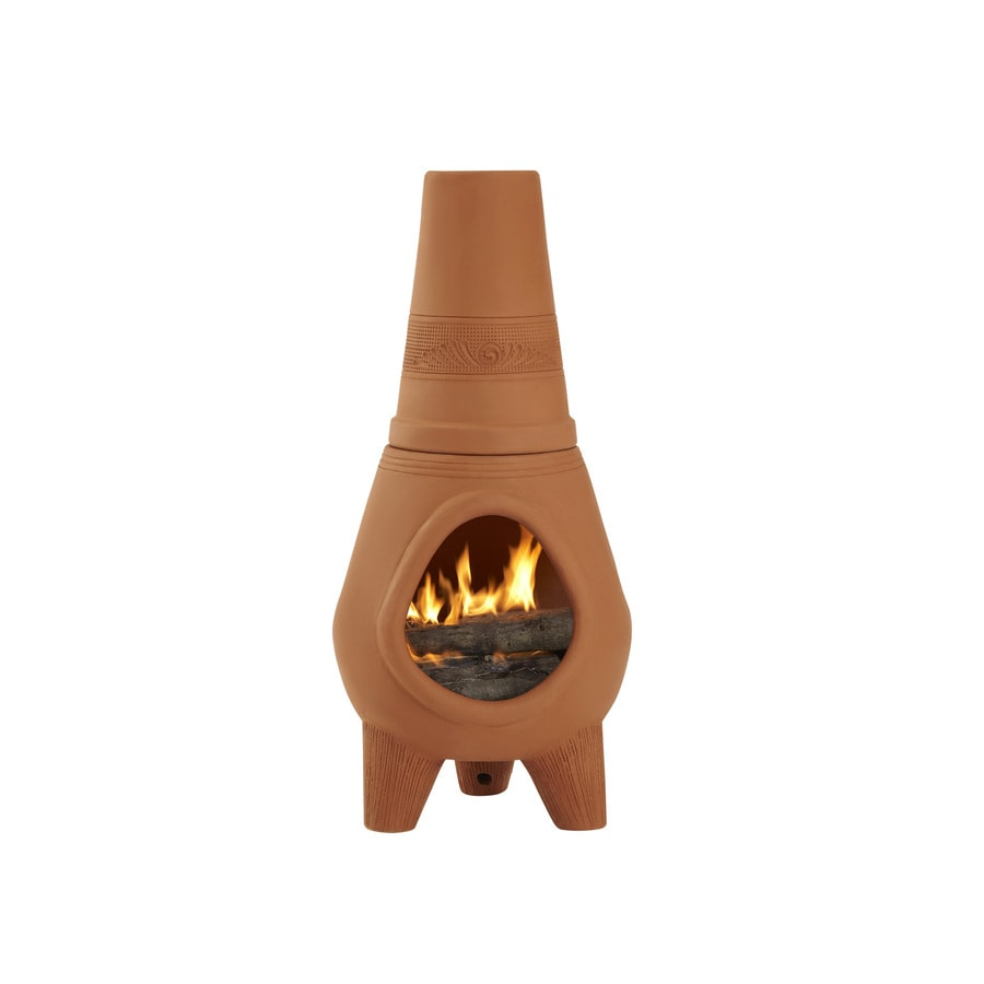 PR Imports 42-in H x 18.5-in D x 18.5-in W Terracotta Clay Chiminea