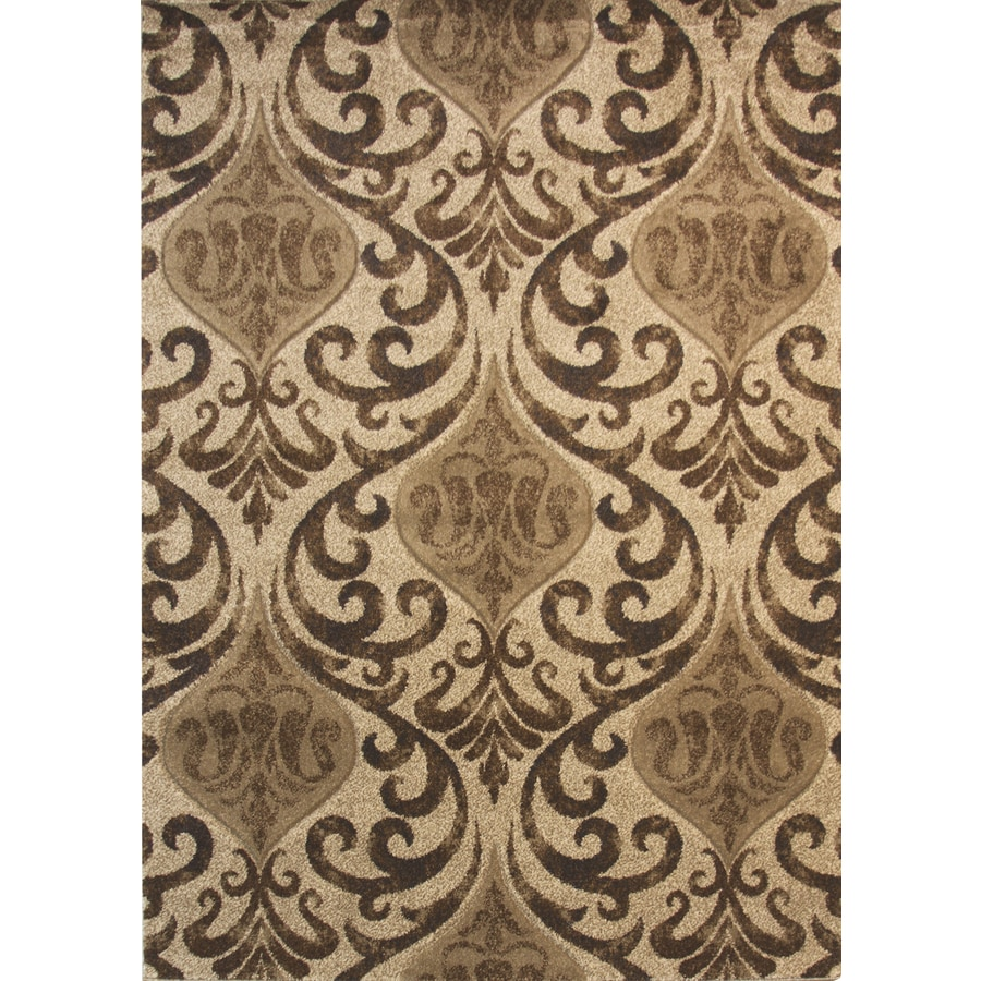 Balta Manchester Brown Linen Rectangular Indoor Machine-Made Inspirational Area Rug (Common: 5 x 7; Actual: 5.25-ft W x 7.22-ft L x 0-ft Dia)