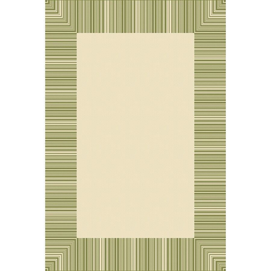 6-ft 3-in x 9-ft 6-in Rectangular Green Border Indoor/Outdoor Area Rug