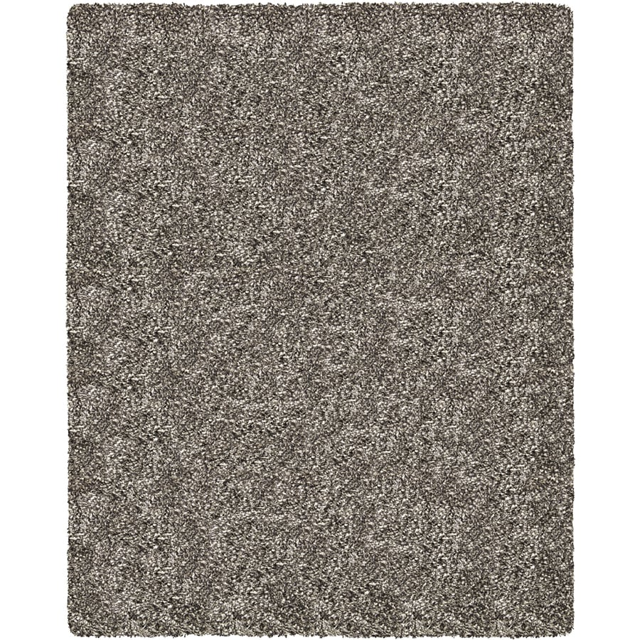Balta Luxury Shag 94-in x 120-in Rectangular Gray/Silver Solid Area Rug