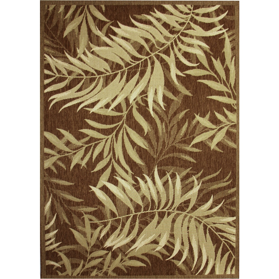 Palm Leaf Havanah Rectangular Indoor/Outdoor Machine-Made Nature Area Rug (Common: 5 x 7; Actual: 5.3-ft W x 7.4-ft L)