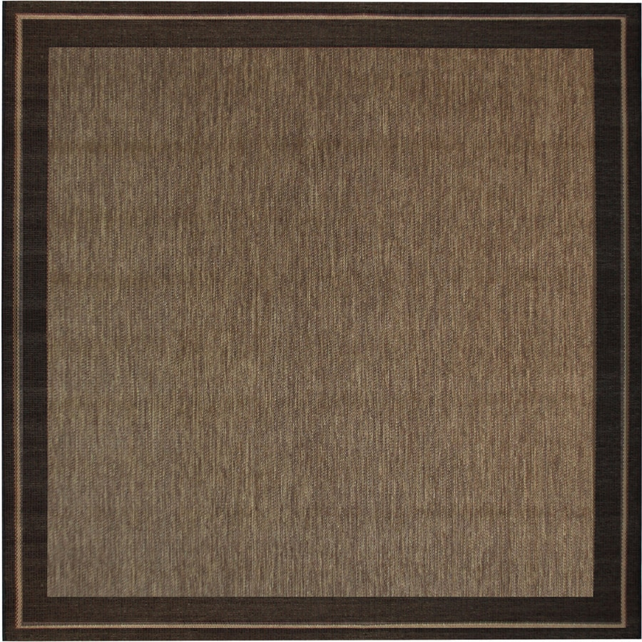 New Haven Havanah And Black Square Indoor Outdoor Machine Made Nature Area Rug