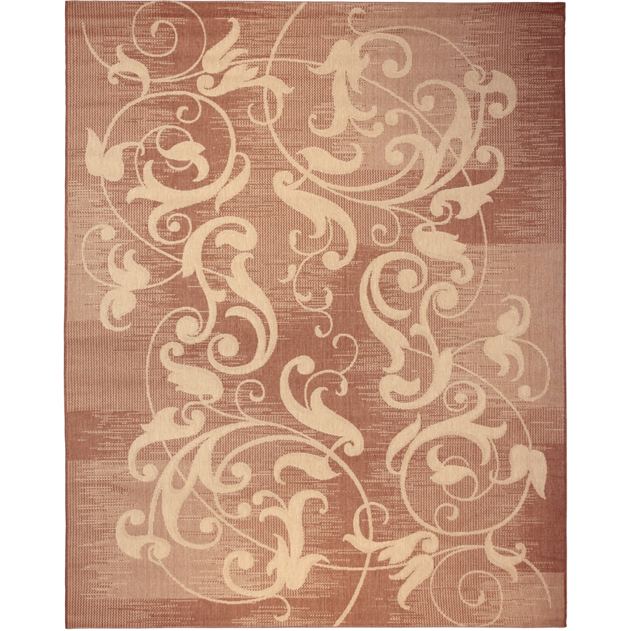 Kannapolis Terracotta and Sand Rectangular Indoor/Outdoor Machine-Made Inspirational Area Rug (Common: 8 x 10; Actual: 7.87-ft W x 10-ft L)
