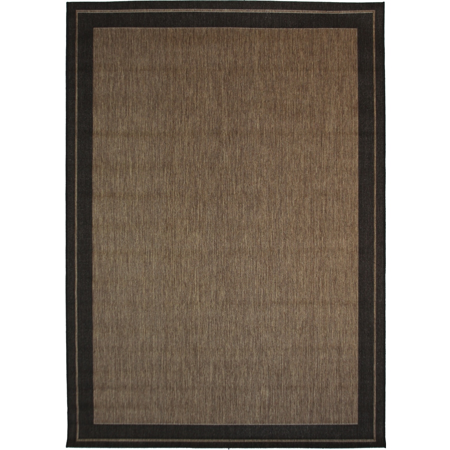 New Haven Havanah And Black Rectangular Indoor/Outdoor Machine Made Nature  Area Rug (