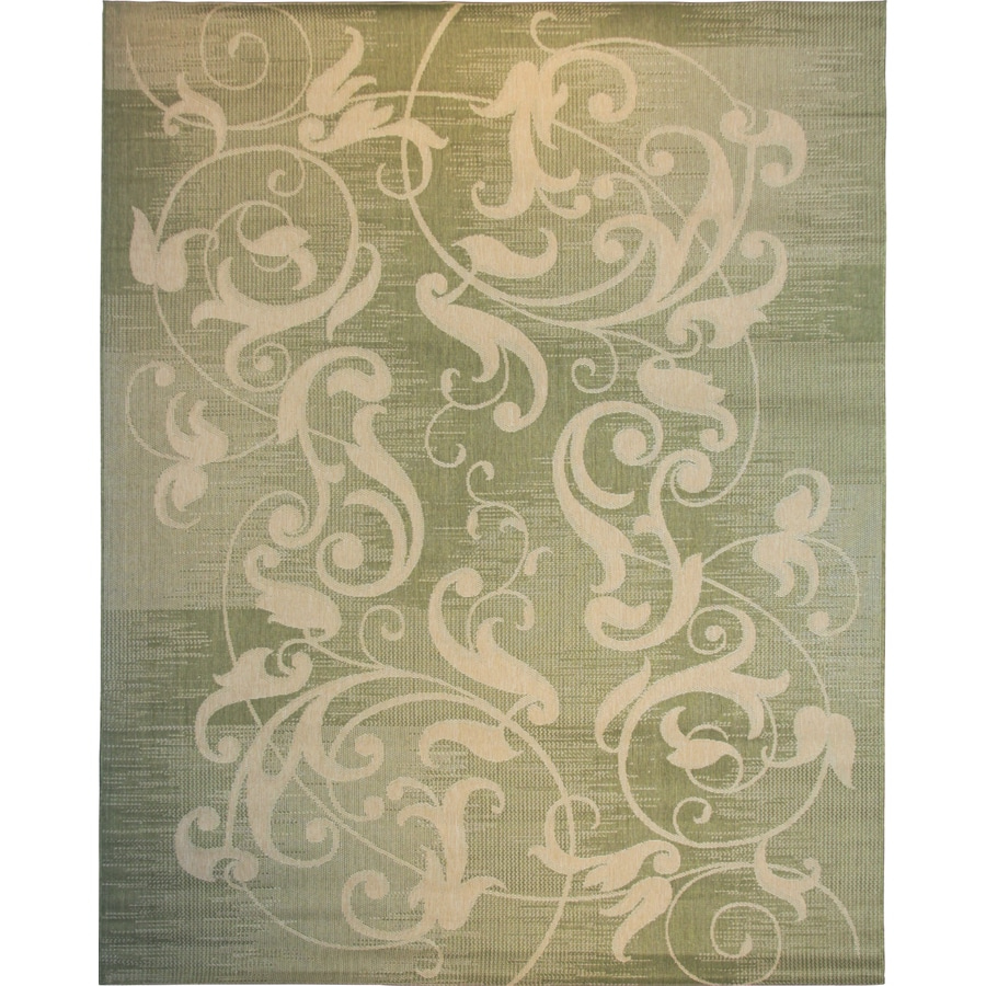 8x10 Indoor Outdoor Area Rugs: Shop Kannapolis Green And Sand Rectangular Indoor/Outdoor