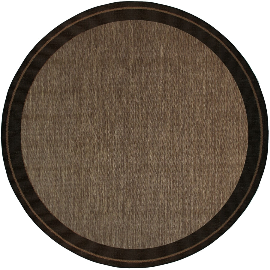 New Haven Havanah and Black Round Indoor/Outdoor Machine-Made Nature Area Rug (Common: 7 x 7; Actual: 6.73-ft W x 6.73-ft L)