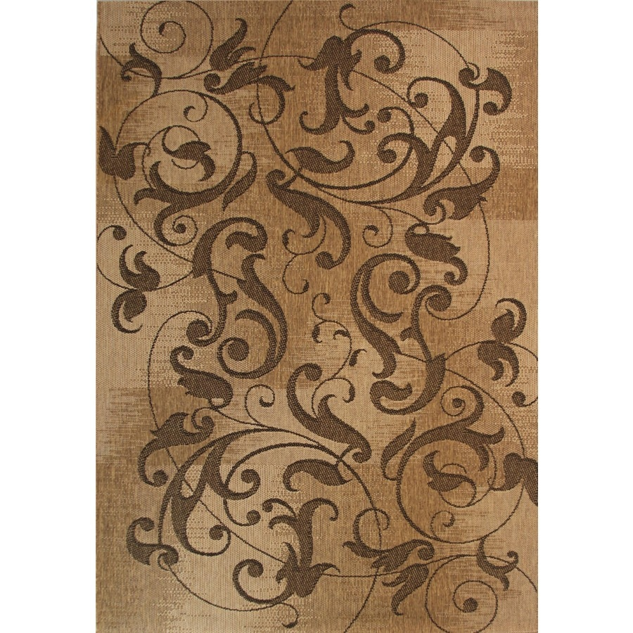 Kannapolis Chestnut Rectangular Indoor/Outdoor Machine Made Inspirational  Area Rug (Common: 5