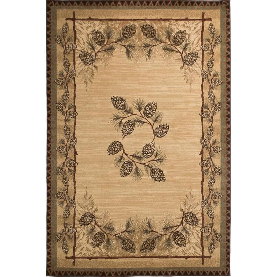 Balta Carlswell Beige Rectangular Indoor Machine-Made Lodge Area Rug (Common: 4 x 6; Actual: 3.11-ft W x 5.6-ft L)