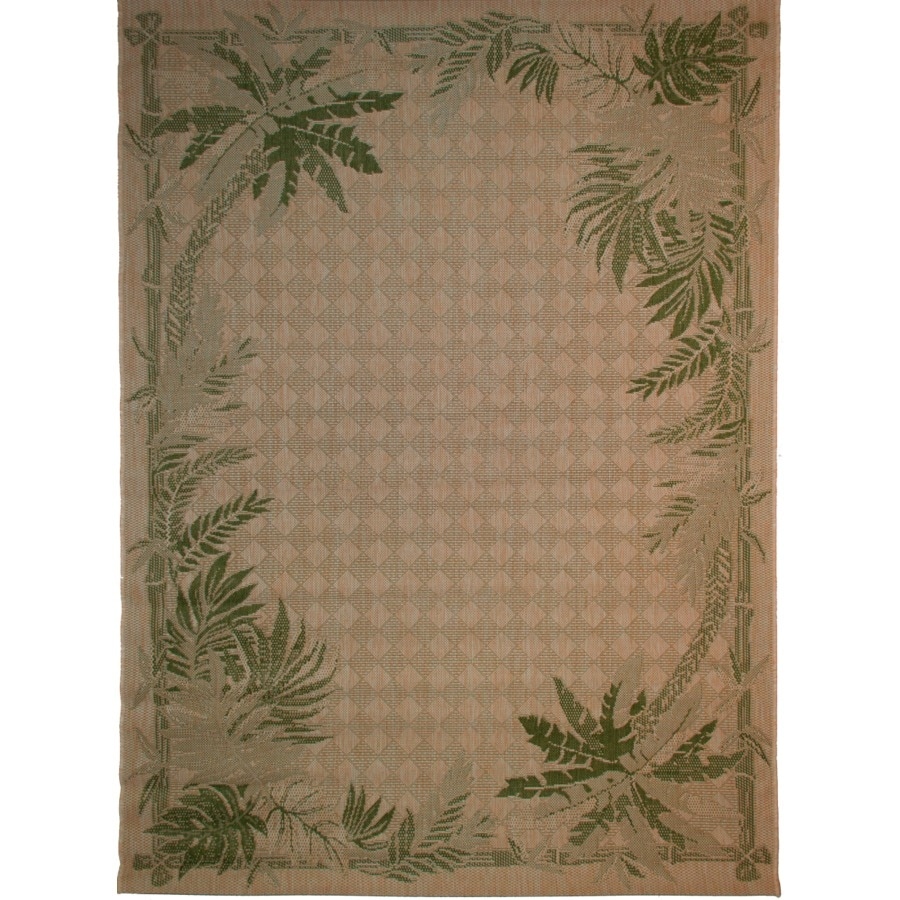 Balta Palm Border Sand And Palm Green Rectangular Indoor